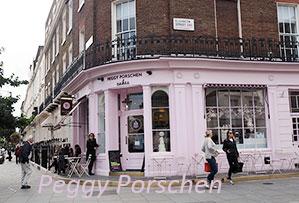 イギリス訪問記 Vol.1 ペギーポーション ピンク色の建物がかわいいカップケーキのお店です。